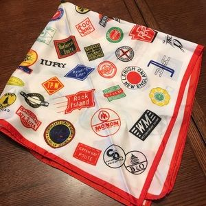 Silk Scarf Trains Railroad Logos Vintage white
